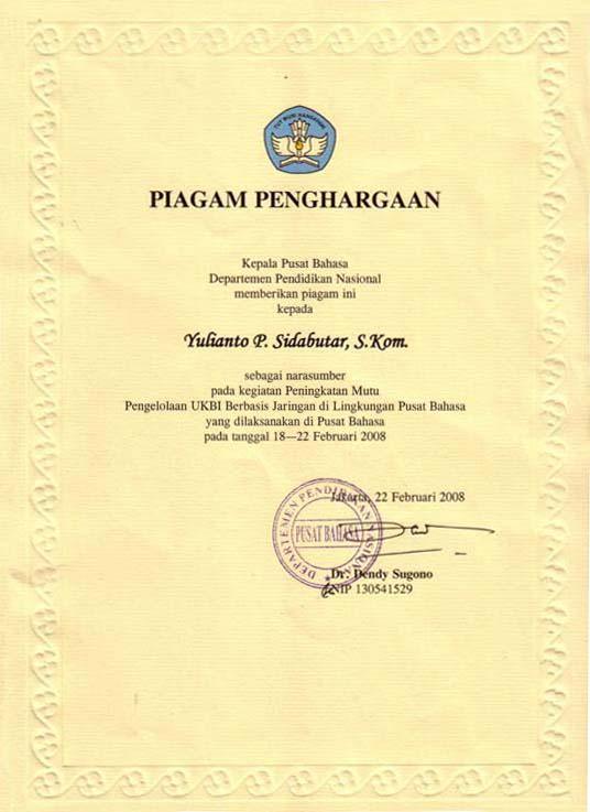 Piagam Penghargaan by Pusat Bahasa